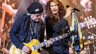 [L-R] Brad Whitford and Steven Tyler of Aerosmith