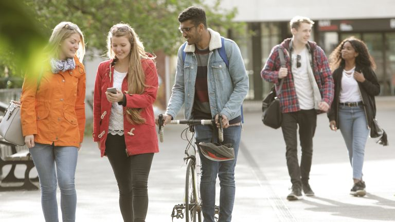 College students walking between classes