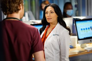Nick Gehlfuss as Dr. Will Halstead and Tehmina Sunny as Dr. Sabeena Virani in NBC's 'Chicago Med'