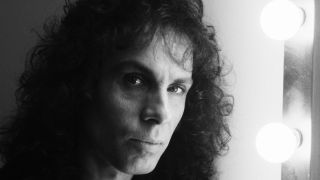 A close-up of Ronnie James Dio's face