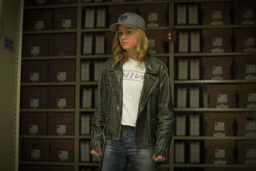 Brie Larson's Carol Danvers in a SHIELD hat and street clothes