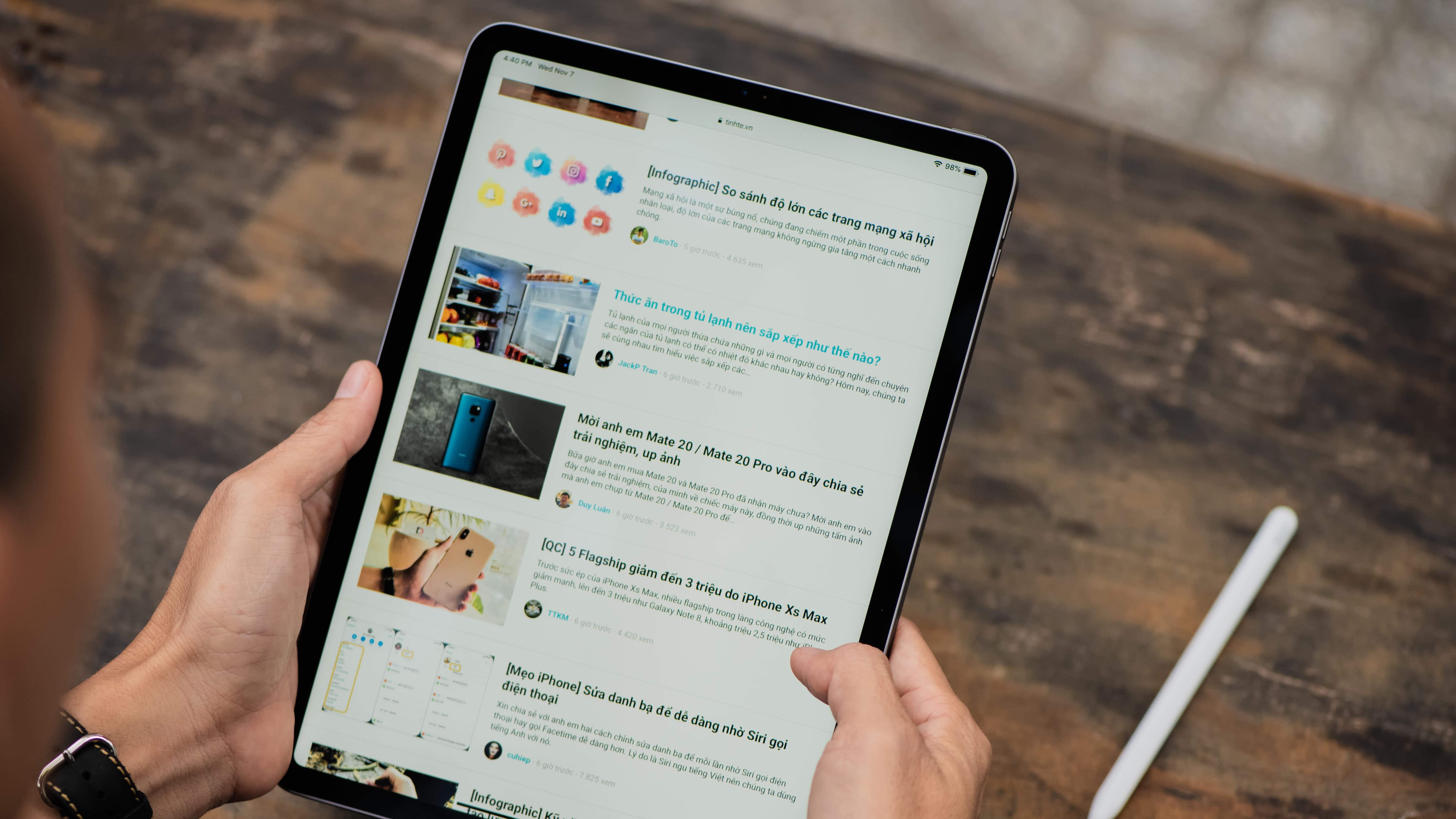 An iPad Pro in use
