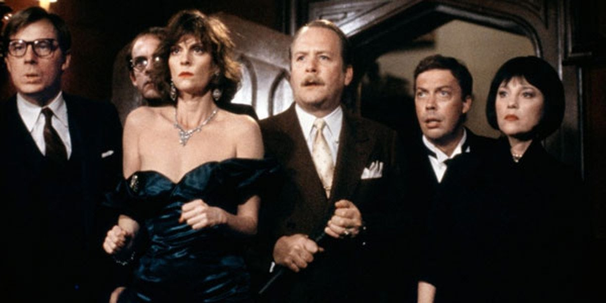 Tim Curry, Christopher Lloyd, Lesley Ann Warren, Martin Mull, Madeline Kahn, and Michael McKean in C
