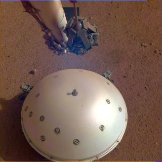 Insight's seismometer on the surface of Mars.