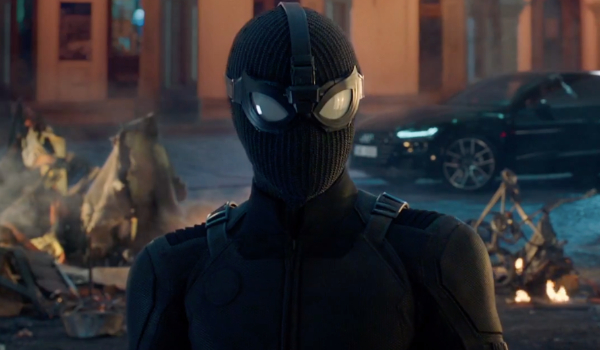 Spider-Man: Far From Home Spider-Man wearing his stealth suit on the street