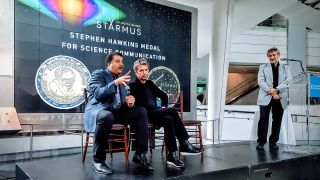 Neil deGrasse Tyson (left) and Jean-Michel Jarre (center) will receive the Stephen Hawking Medal for Science Communication this year. Garik Israeliank, astrophysicist and creator of Starmus, made the big announcement on June 6 at the Rose Center for Earth