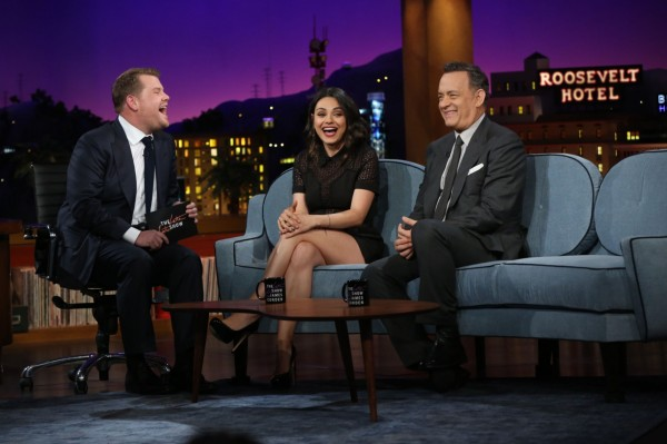 Mila Kunis and Tom Hanks on The Late Late Show