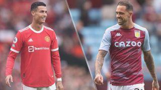 Cristiano Ronaldo of Manchester United and Danny Ings of Aston Villa