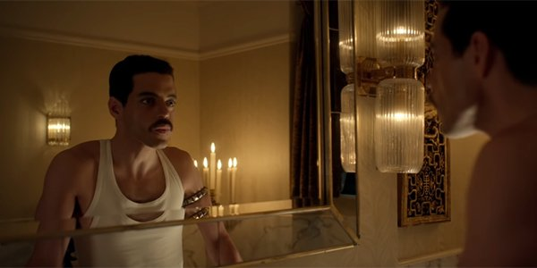 Rami Malek looking in the mirror in Bohemian Rhapsody