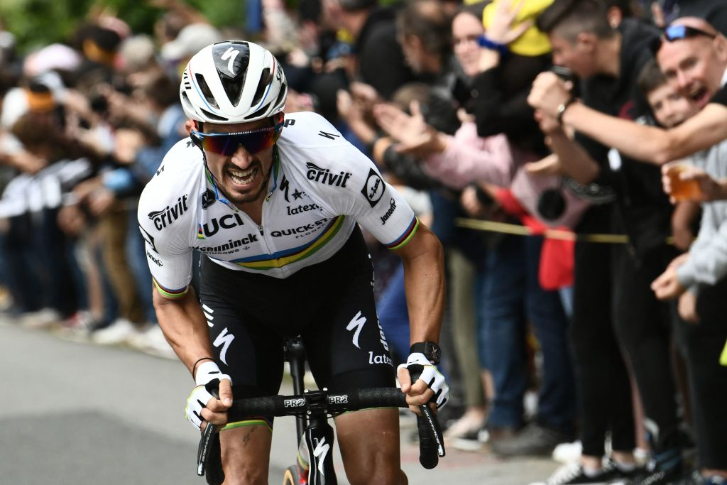 Team Deceuninck Quicksteps Julian Alaphilippe of France rides ahead during the 1st stage of the 108th edition of the Tour de France cycling race 197 km between Brest and Landerneau on June 26 2021 Photo by Philippe LOPEZ AFP Photo by PHILIPPE LOPEZAFP via Getty Images