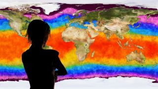 A 3D illustration of a woman watching a climate change simulation of Earth.