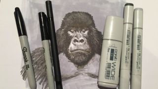 black and white drawing: gorilla and marker pens