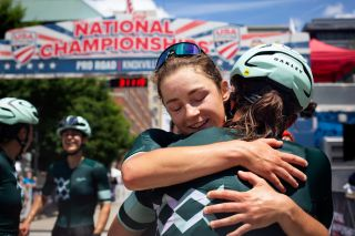 Jennifer Wheeler hugs Fount Cycling teammate Veronica Ewers for taking bronze at 2021 USPRO road championships