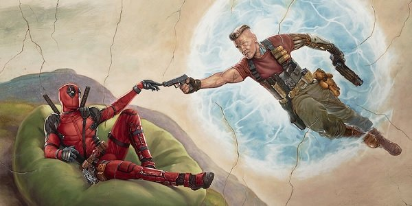 Deadpool 2 Wade Wilson and Cable mimicking Michelangelo's The Creation of Adam