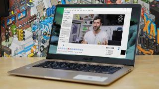 Avidemux running on a laptop