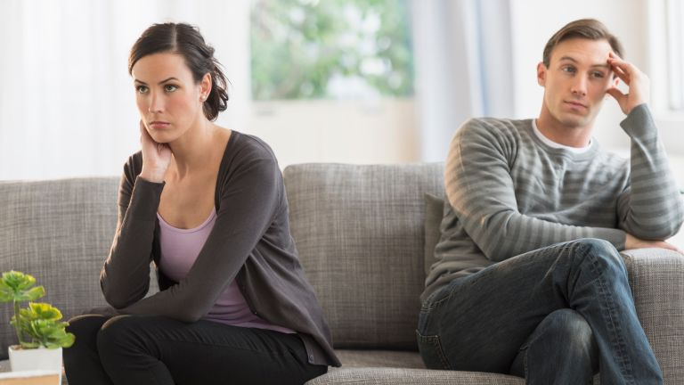 Woman and man not speaking after argument