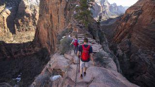 Hikers walk along the narrow fin of Angels Landing in Zion Utah