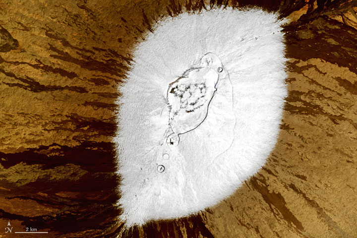 A satellite image of snow on Mauna Loa on Hawaii's Big Island.
