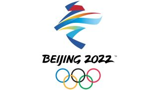 Beijing 2022 Winter Olympics logo with colourful strokes representing the Chinese character for winter above the Olympic rings and all-caps brushstroke text reading Beijing 2022