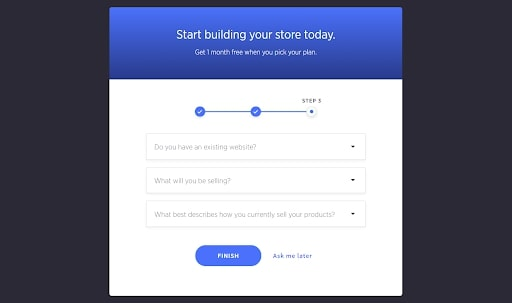 BigCommerce's questions pop-up when creating a store
