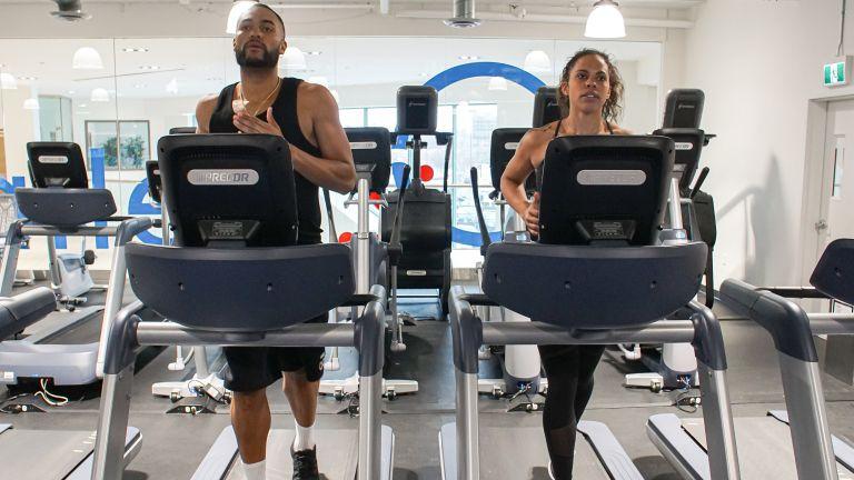 Jasmine Parent, 30 and Jeremy Crawley, 27, on the treadmill