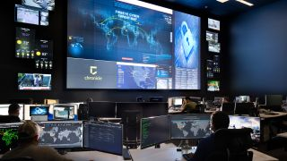 Fishtech's new 20,000-square-foot operations center features a 32-foot-diagonal video wall composed of 49 55-inch Barco UniSee panels.