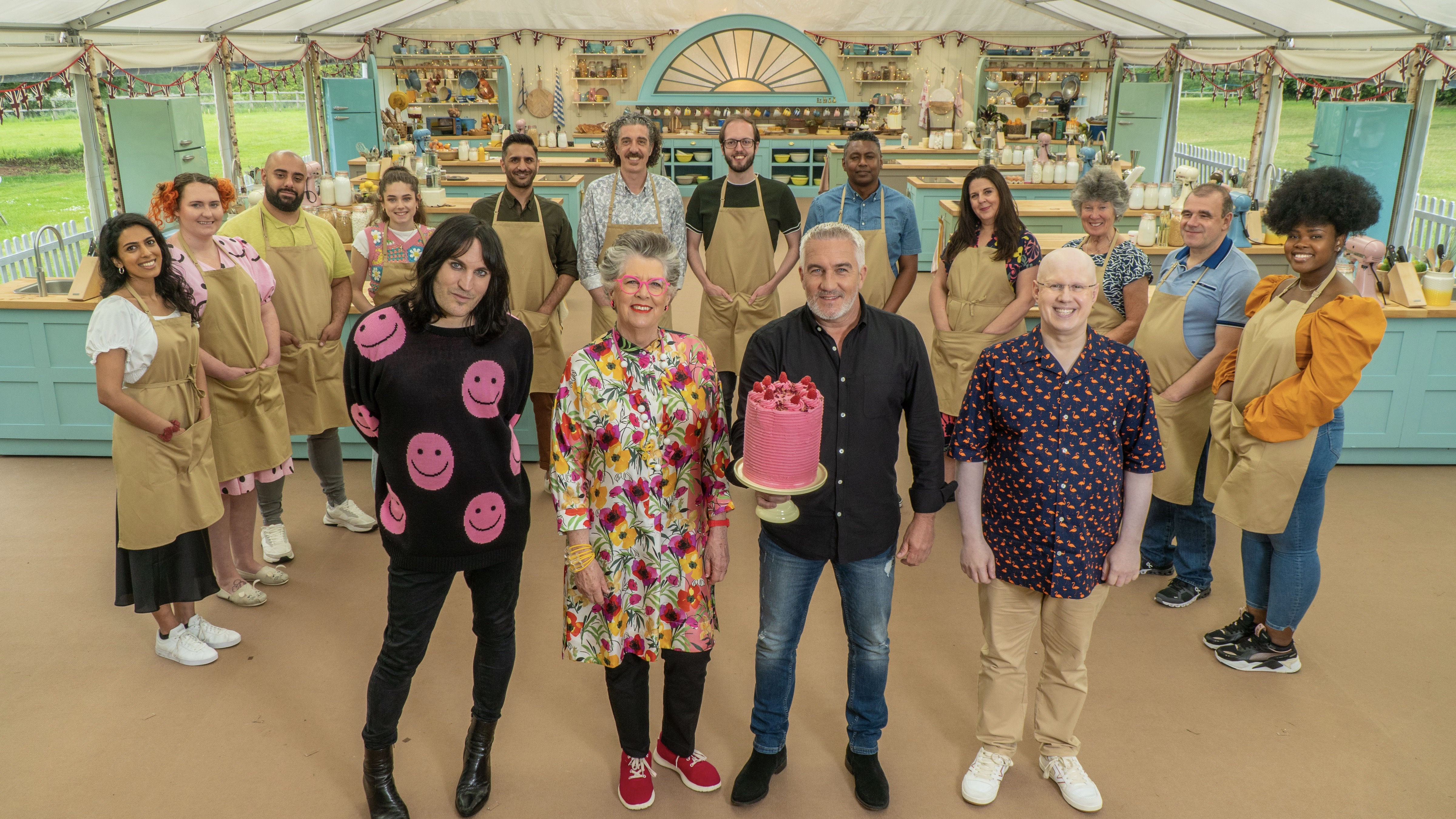 The Great British Bake Off hosts, judges and bakers.