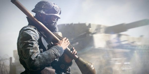 A brooding soldier in Battlefield V.