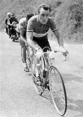 The 'Angel of the Mountains' - Charly Gaul leads Spanish rider Federico Bahamontes during the 17th stage of the 1959 Tour de France between Saint-Etienne and Grenoble, which Gaul won.