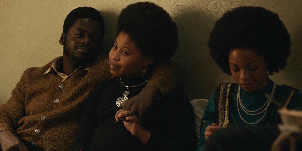 Daniel Kaluuya as Fred Hampton cuddles Dominique Fishback as Deborah Johnson in Judas and the Black Messiah