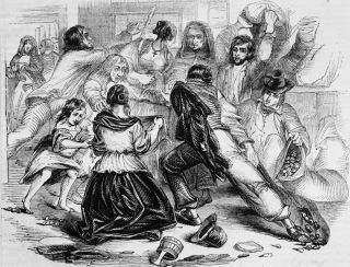 Starving townspeople raid a potato store in Galway, in Ireland, during the Irish potato famine, on June 13, 1842.
