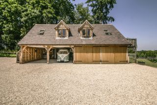 Oak framed garage and carport