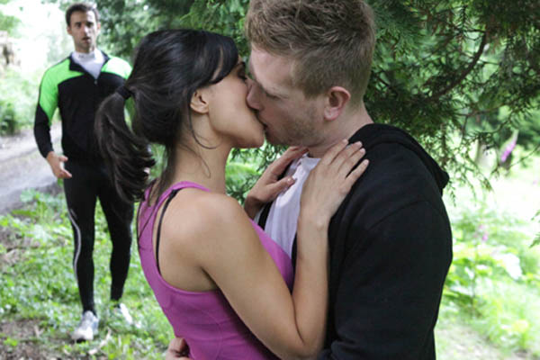 Nikhil runs into Priya and David kissing!