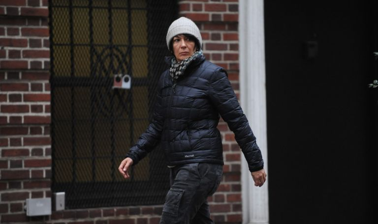 Ghislaine Maxwell, after walking out the side door of her East 65th Street townhouse in Manhattan on Sunday, January 4, 2015.