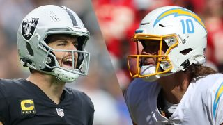 Derek Carr of the Raiders and Justin Herbert (10) of the Chargers, who will play in the Raiders vs Chargers live stream