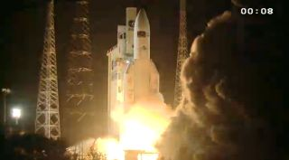 An Ariane 5 rocket launches the unmanned ATV-3 Edoardo Amaldi robotic cargo ship toward the International Space Station on March 23, 2012 in a successful liftoff from Guiana Space Center in Kourou, French Guiana.