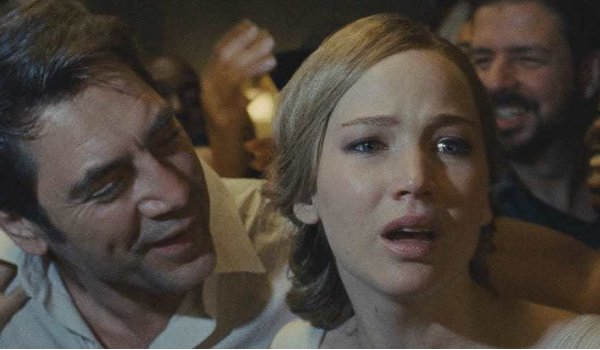 mother! Javier Bardem and Jennifer Lawrence in a chaotic crowd