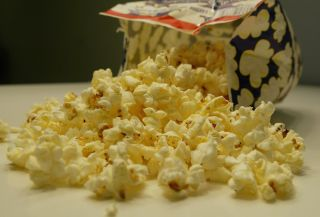 A bag of microwave popcorn.