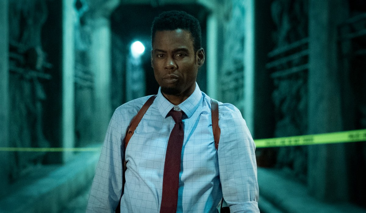 Chris Rock stands at the subway tunnel crime scene in Spiral: From the Book of Saw.