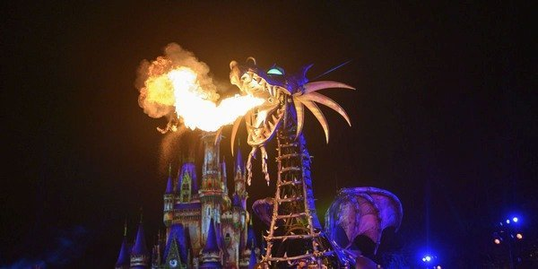 A dragon breathing fire during a show in front of Cinderella's Castle at Disney.