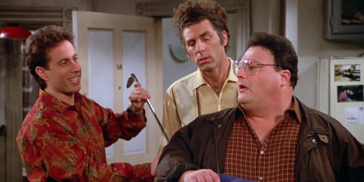 Jerry Seinfeld, Michael Richards, and Wayne Knight on Seinfeld