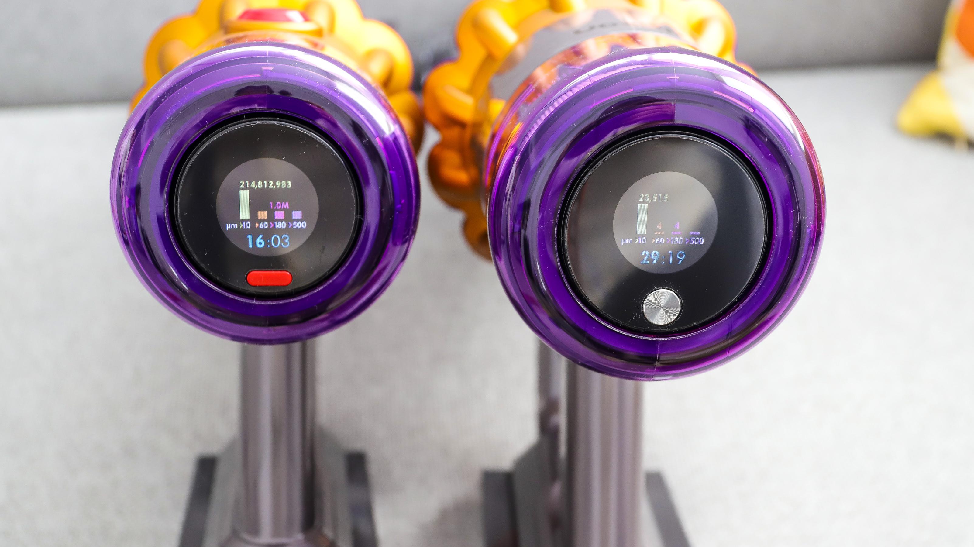 Dyson V12 Detect Slim and Dyson V15 Detect digital displays side by side