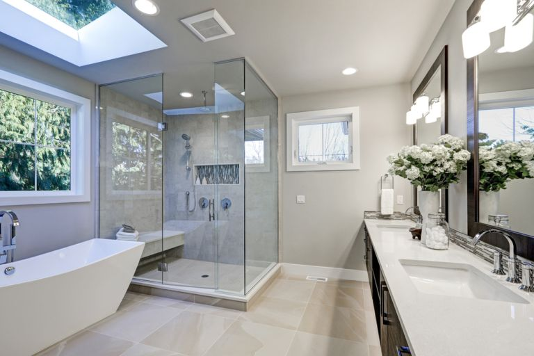 Amtico vinyl tile flooring in a bathroom