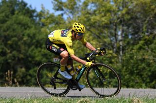 GRAND COLOMBIER FRANCE SEPTEMBER 13 Primoz Roglic of Slovenia and Team Jumbo Visma Yellow Leader Jersey during the 107th Tour de France 2020 Stage 15 a 1745km stage from Lyon to Grand Colombier 1501m TDF2020 LeTour on September 13 2020 in Grand Colombier France Photo by Tim de WaeleGetty Images