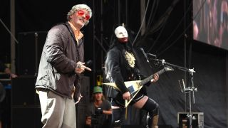Fred Durst and Wes Borland of Limp Bizkit perform on stage during Lollapalooza 2021 at Grant Park on July 31, 2021 in Chicago, Illinois.