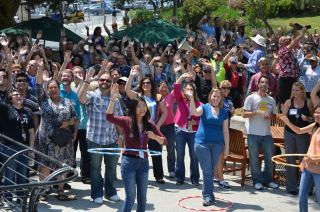 As NASA's Cassini spacecraft turned its imaging cameras to Earth, scientists, engineers and visitors at NASA's Jet Propulsion Laboratory, Pasadena, Calif., gathered to wave at our robotic photographer in the Saturn system on July 19, 2013.