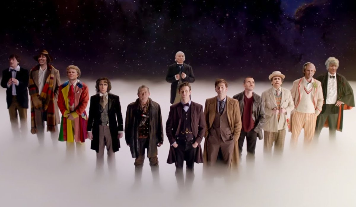Doctor Who The First 12 Doctors lined up in the stars