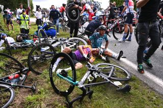 Riders on the ground after a huge crash on stage 1 of the Tour de France