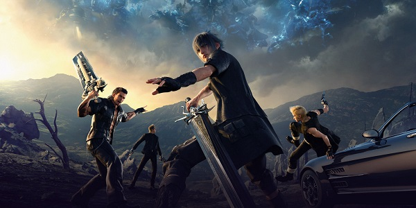 The cast of Final Fantasy 15, weapons drawn, get ready for battle.