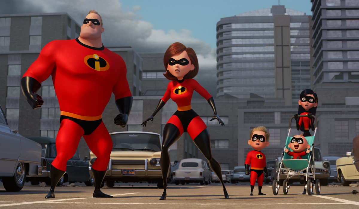 Incredibles 2 The Paars staring at The Underminer's threat to the city